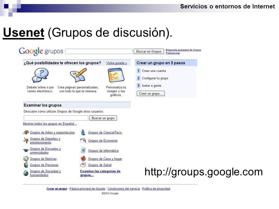 Servicios o entornos de Internet Usenet (Grupos de discusión). http://groups.google.com