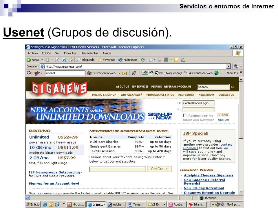 Servicios o entornos de Internet Usenet (Grupos de discusión).