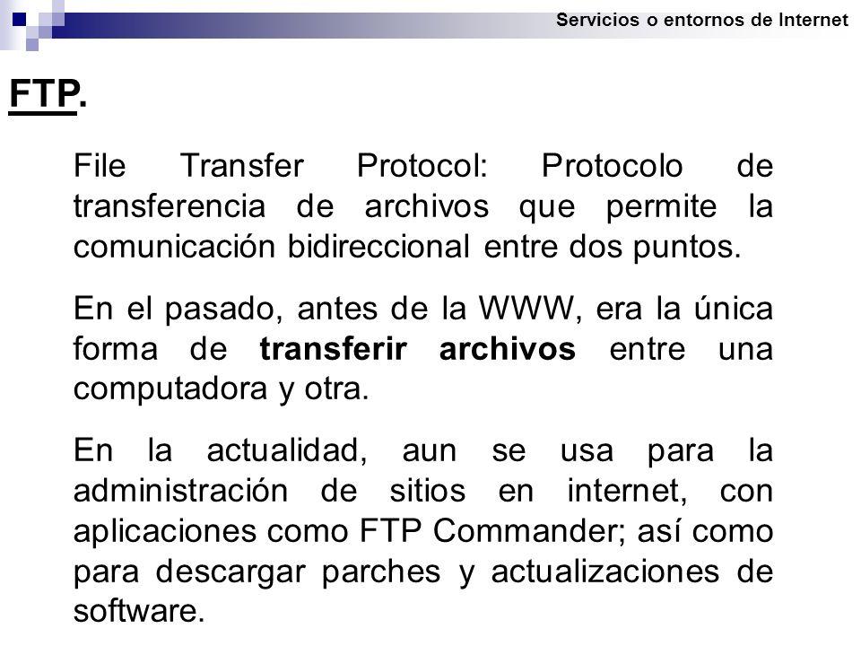 Servicios o entornos de Internet FTP.
