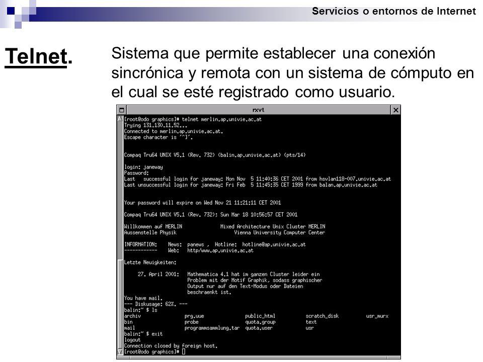 Servicios o entornos de Internet Telnet.