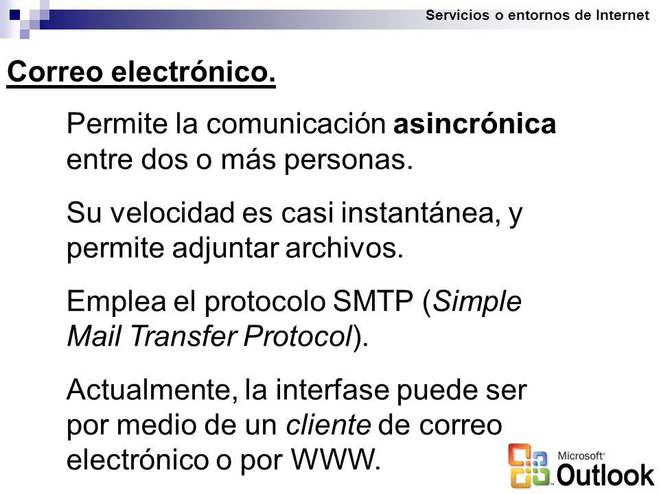 Servicios o entornos de Internet Correo electrónico.