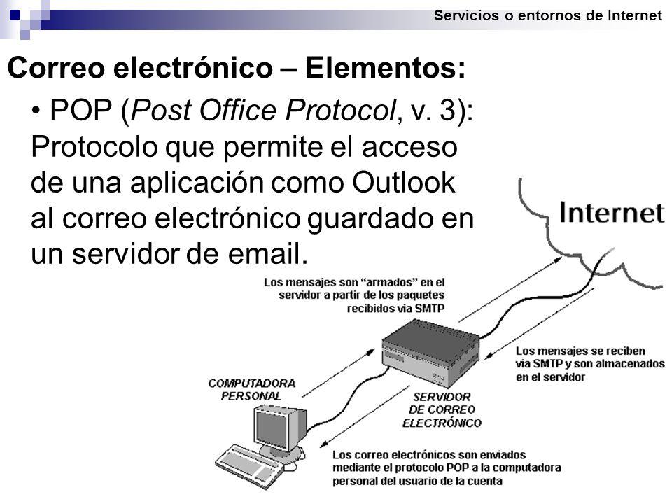Servicios o entornos de Internet Correo electrónico – Elementos: POP (Post Office Protocol, v.