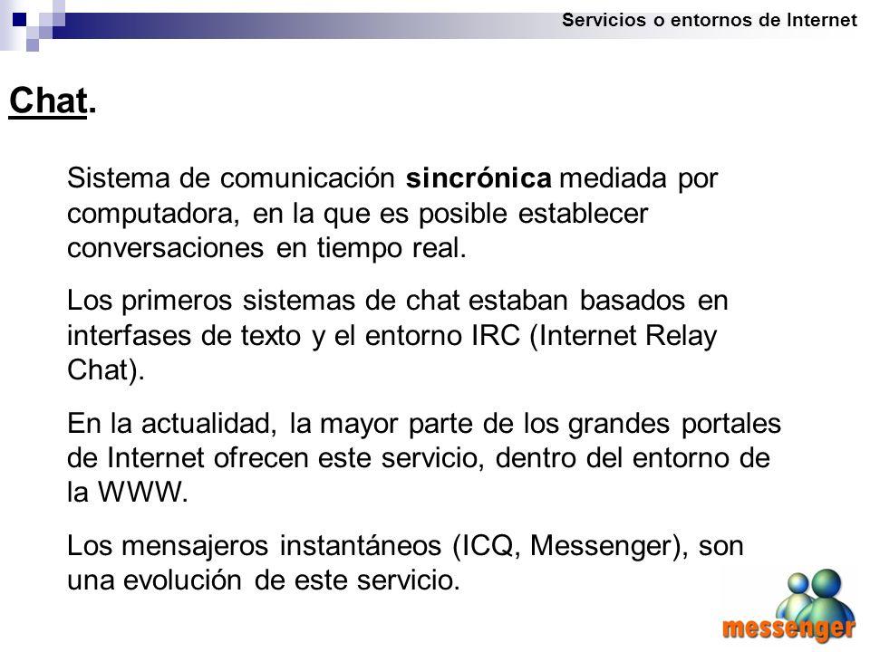 Servicios o entornos de Internet Chat.