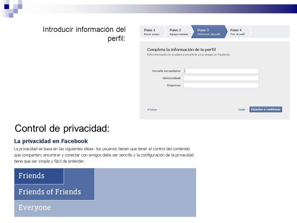 Introducir información del perfil: Control de privacidad: