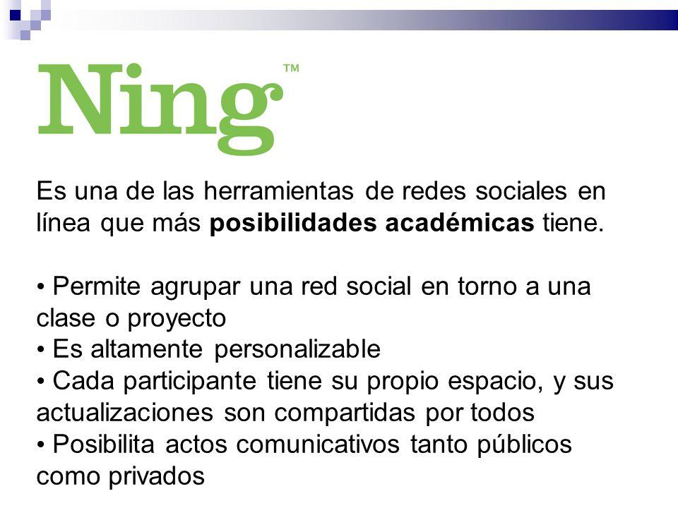 Es una de las herramientas de redes sociales en línea que más posibilidades académicas tiene.