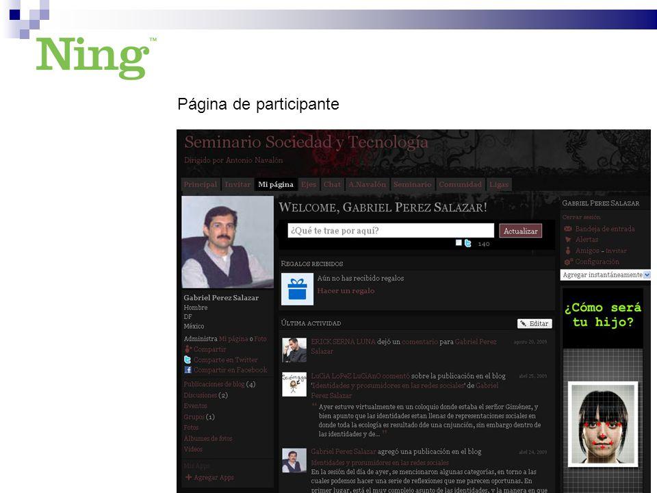 Página de participante