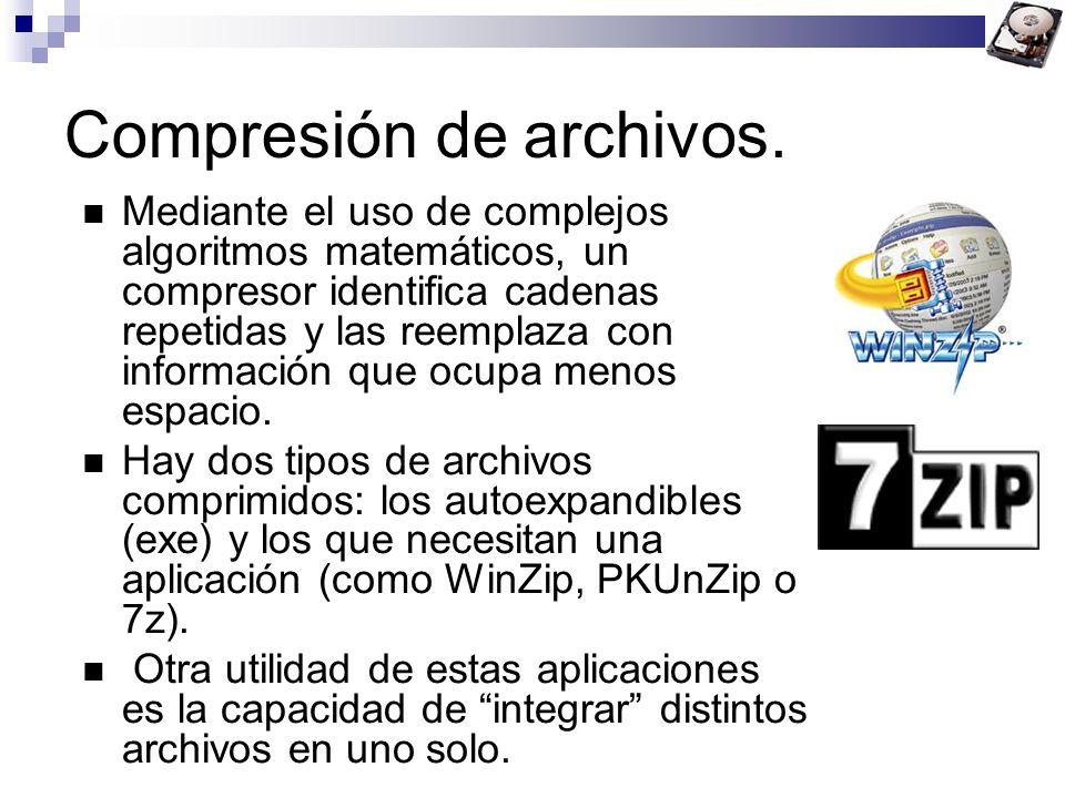 Compresión de archivos. Mediante el uso de complejos algoritmos matemáticos, un compresor identifica cadenas repetidas y las reemplaza con información
