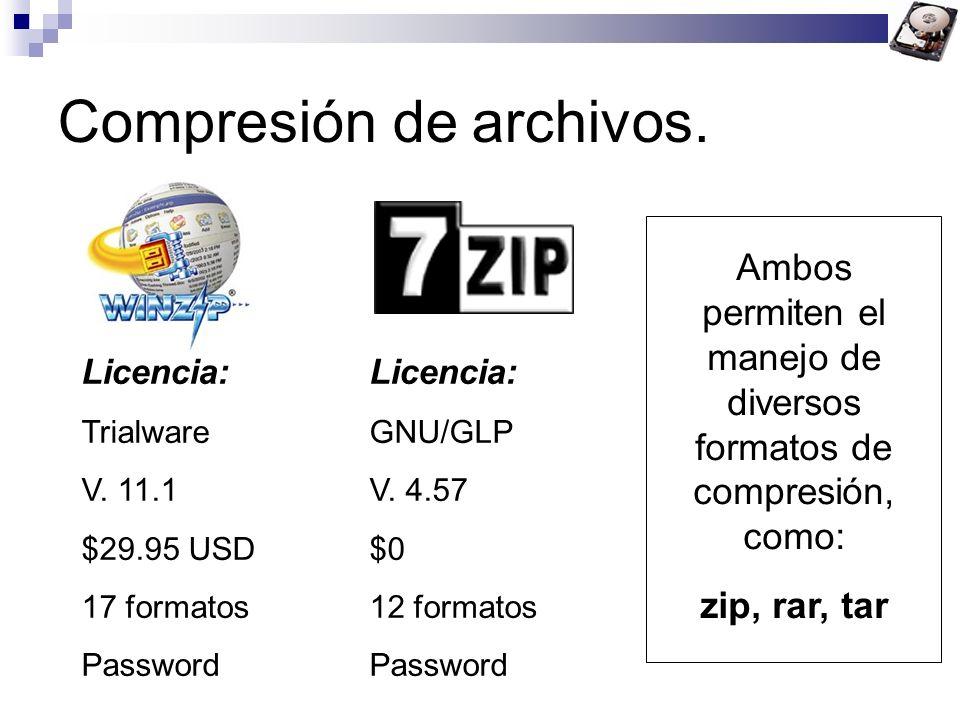 Compresión de archivos. Licencia: TrialwareGNU/GLP V. 11.1V. 4.57 $29.95 USD$0 17 formatos12 formatosPassword Ambos permiten el manejo de diversos for