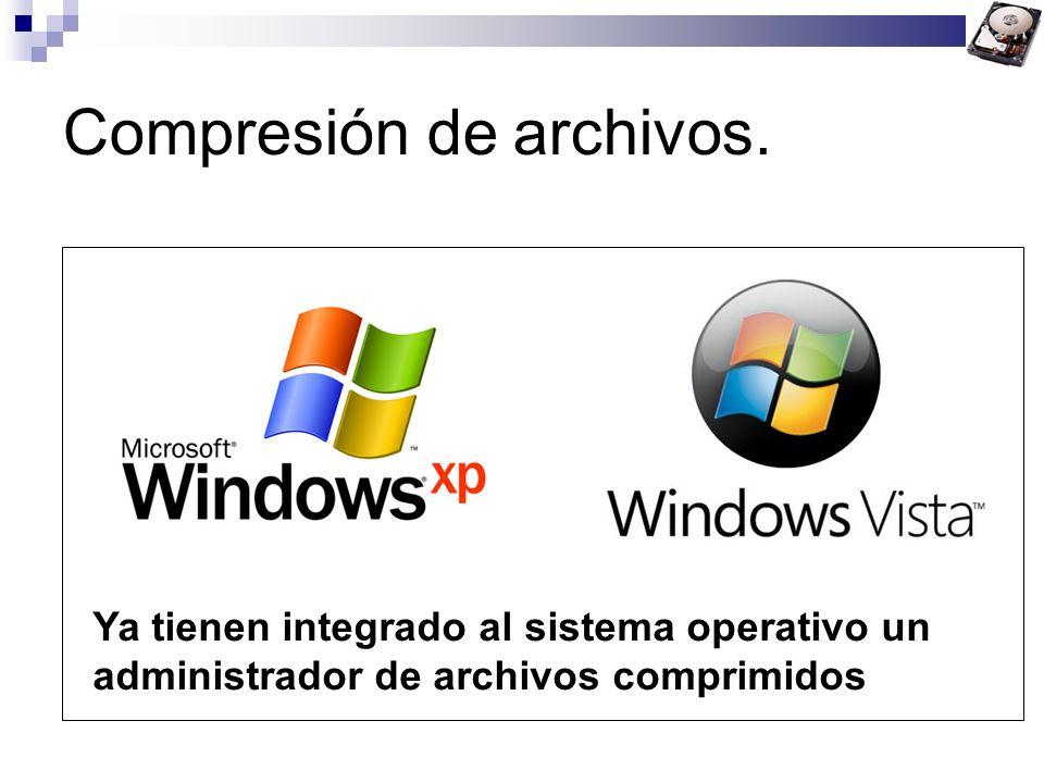 Compresión de archivos. Ya tienen integrado al sistema operativo un administrador de archivos comprimidos