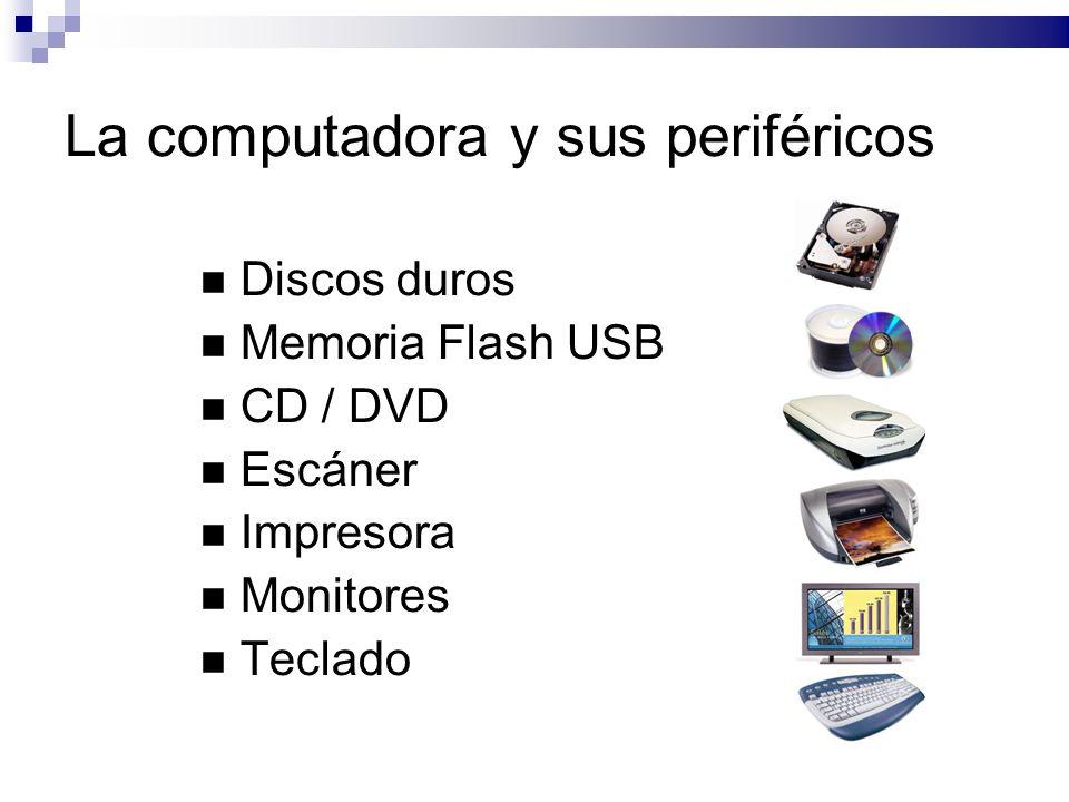 La computadora y sus periféricos Discos duros Memoria Flash USB CD / DVD Escáner Impresora Monitores Teclado