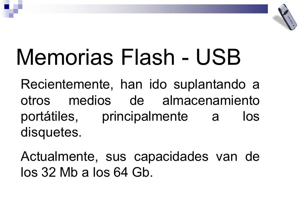 Recientemente, han ido suplantando a otros medios de almacenamiento portátiles, principalmente a los disquetes. Actualmente, sus capacidades van de lo