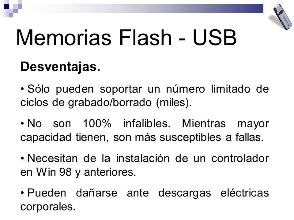 Memorias Flash - USB Desventajas. Sólo pueden soportar un número limitado de ciclos de grabado/borrado (miles). No son 100% infalibles. Mientras mayor