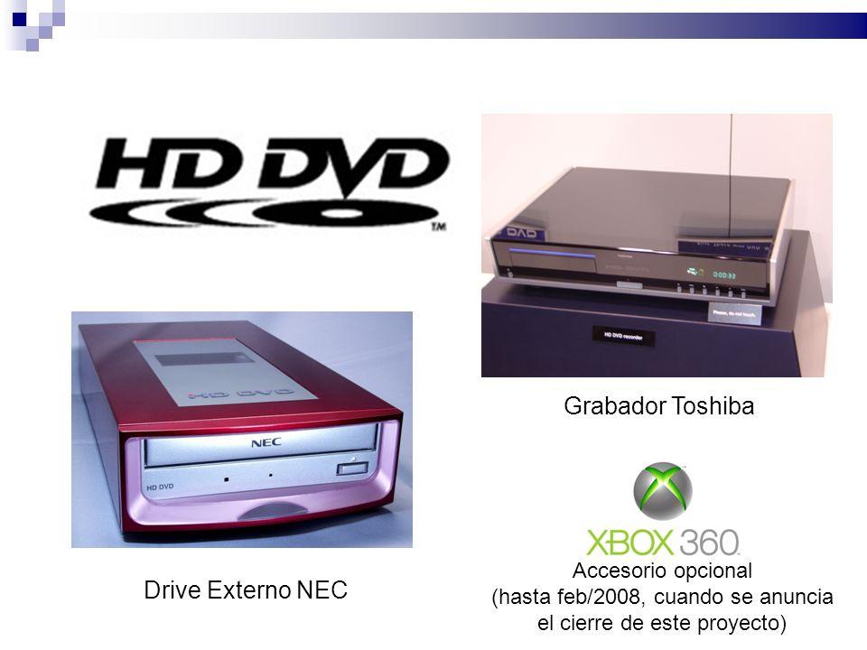 Drive Externo NEC Grabador Toshiba Accesorio opcional (hasta feb/2008, cuando se anuncia el cierre de este proyecto)