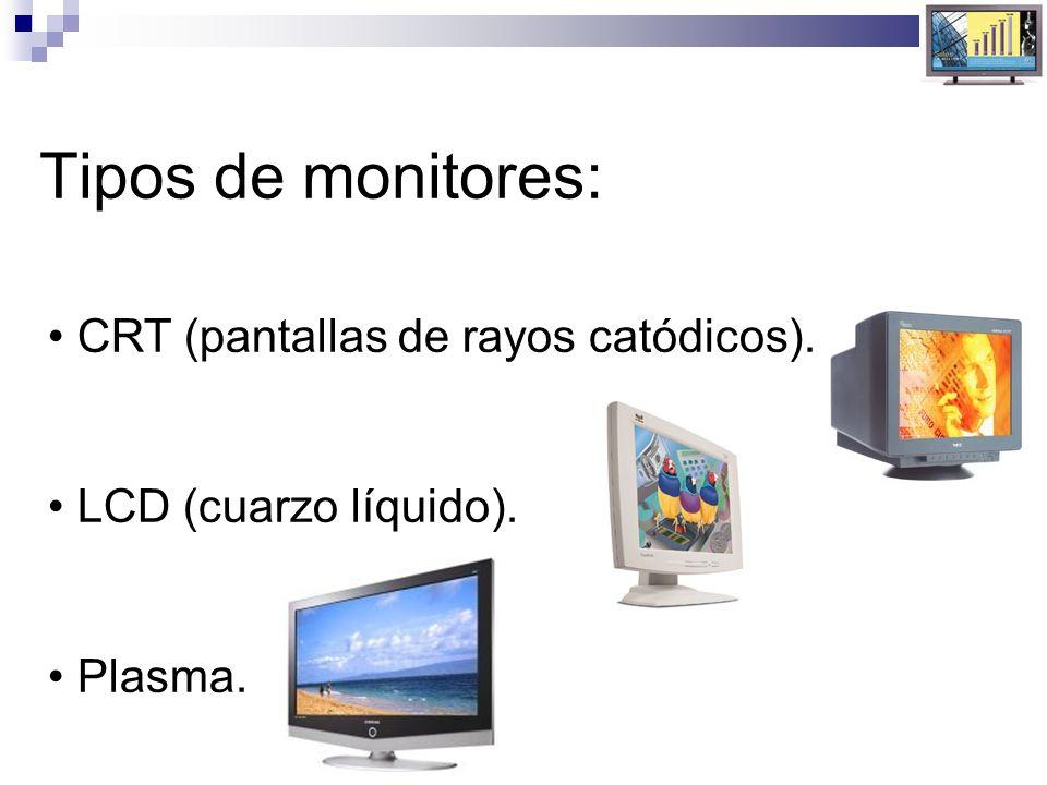 Tipos de monitores: CRT (pantallas de rayos catódicos). LCD (cuarzo líquido). Plasma.