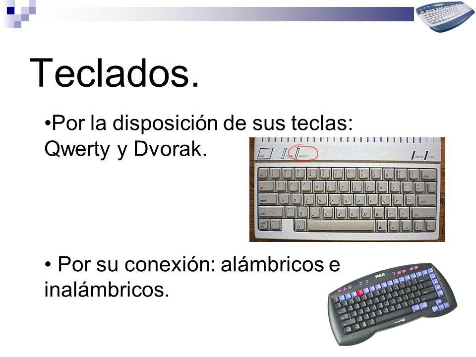 Teclados. Por la disposición de sus teclas: Qwerty y Dvorak. Por su conexión: alámbricos e inalámbricos.
