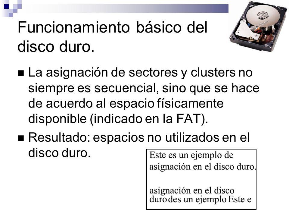 Funcionamiento básico del disco duro. La asignación de sectores y clusters no siempre es secuencial, sino que se hace de acuerdo al espacio físicament