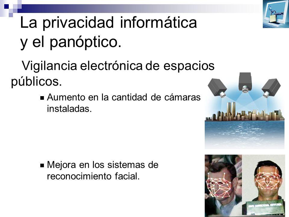 La privacidad informática y el panóptico. Vigilancia electrónica de espacios públicos. Aumento en la cantidad de cámaras instaladas. Mejora en los sis