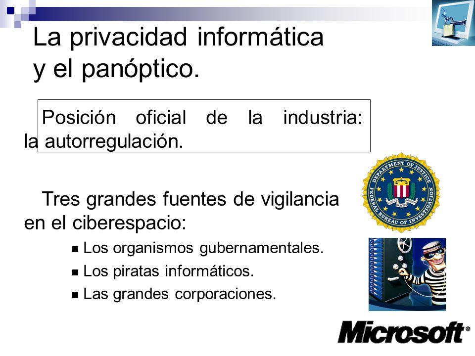 La privacidad informática y el panóptico. Posición oficial de la industria: la autorregulación. Tres grandes fuentes de vigilancia en el ciberespacio: