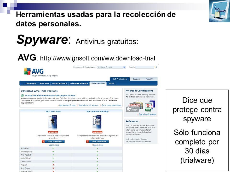 Herramientas usadas para la recolección de datos personales. Spyware: Antivirus gratuitos: AVG : http://www.grisoft.com/ww.download-trial Dice que pro