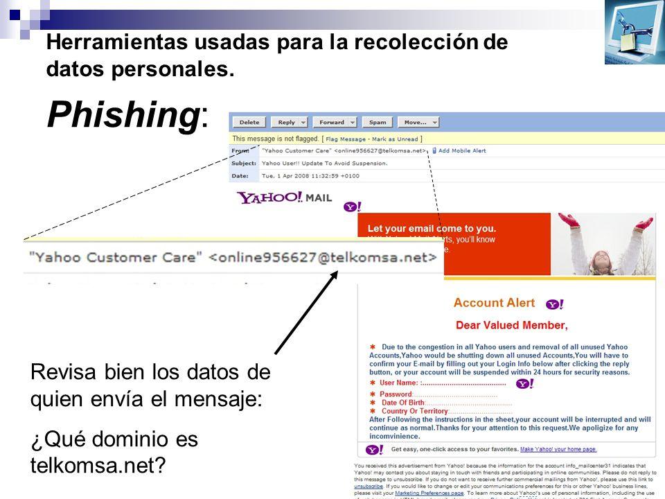 Herramientas usadas para la recolección de datos personales. Phishing: Revisa bien los datos de quien envía el mensaje: ¿Qué dominio es telkomsa.net?