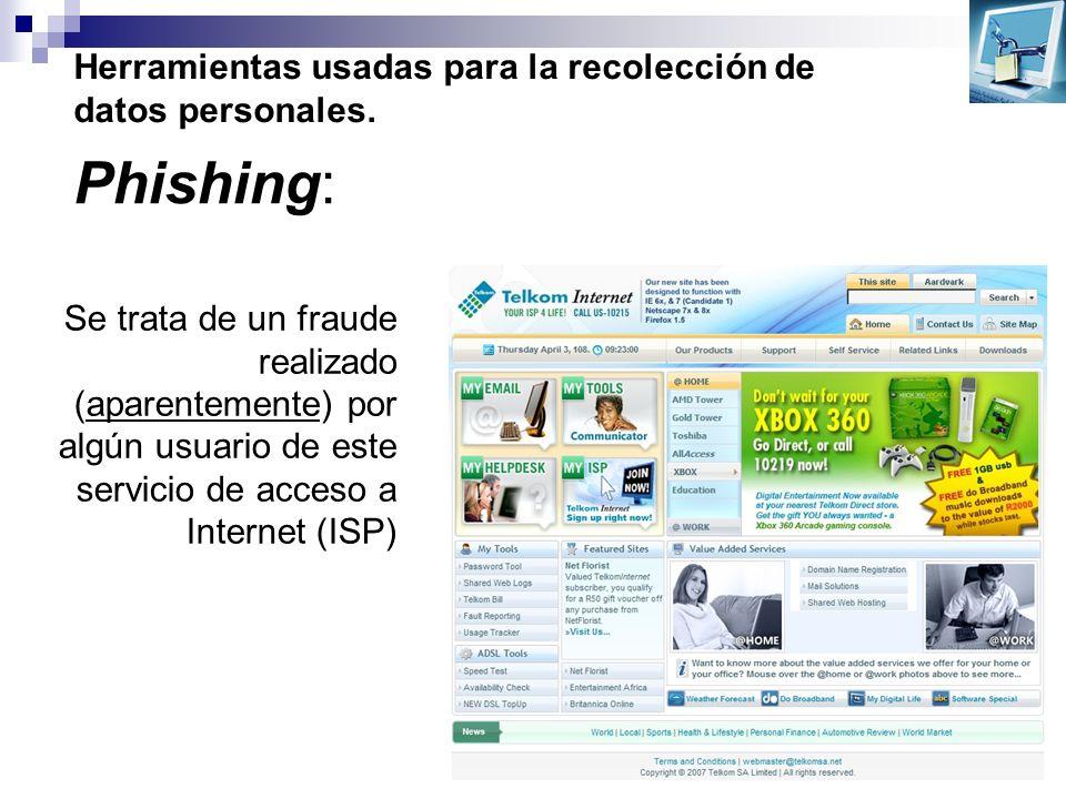 Herramientas usadas para la recolección de datos personales. Phishing: Se trata de un fraude realizado (aparentemente) por algún usuario de este servi