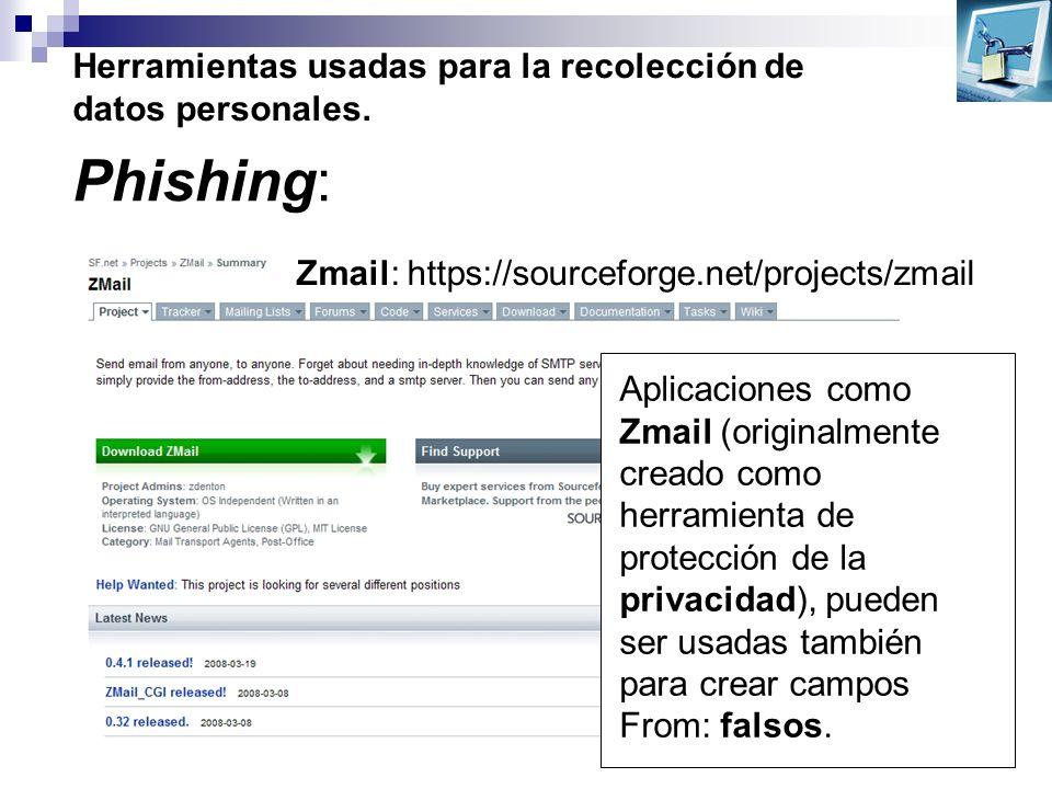 Herramientas usadas para la recolección de datos personales. Phishing: Aplicaciones como Zmail (originalmente creado como herramienta de protección de