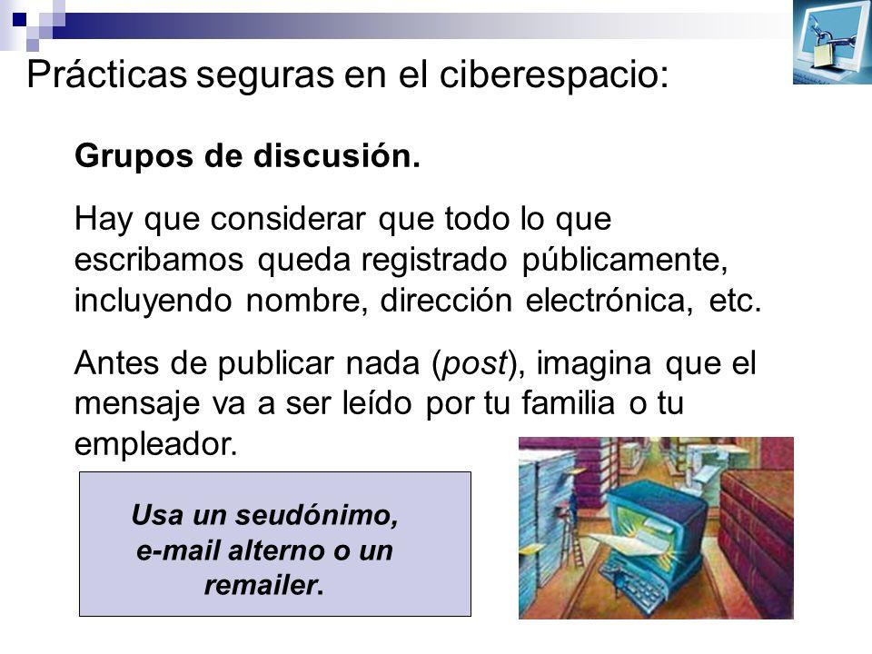 Prácticas seguras en el ciberespacio: Grupos de discusión. Hay que considerar que todo lo que escribamos queda registrado públicamente, incluyendo nom