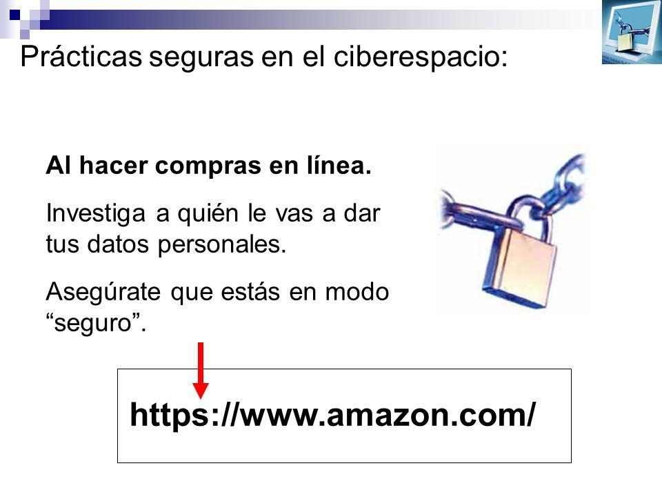 Prácticas seguras en el ciberespacio: Al hacer compras en línea. Investiga a quién le vas a dar tus datos personales. Asegúrate que estás en modo segu