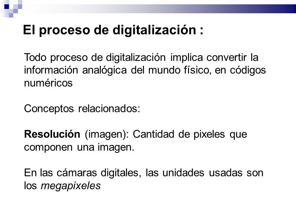 El proceso de digitalización : Todo proceso de digitalización implica convertir la información analógica del mundo físico, en códigos numéricos Conceptos relacionados: Resolución (imagen): Cantidad de pixeles que componen una imagen.