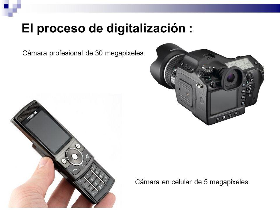 El proceso de digitalización : Cámara profesional de 30 megapixeles Cámara en celular de 5 megapixeles