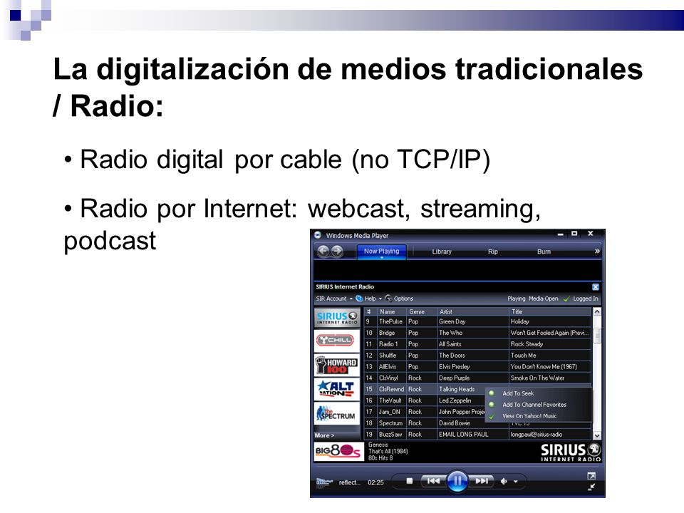 La digitalización de medios tradicionales / Radio: Radio digital por cable (no TCP/IP) Radio por Internet: webcast, streaming, podcast