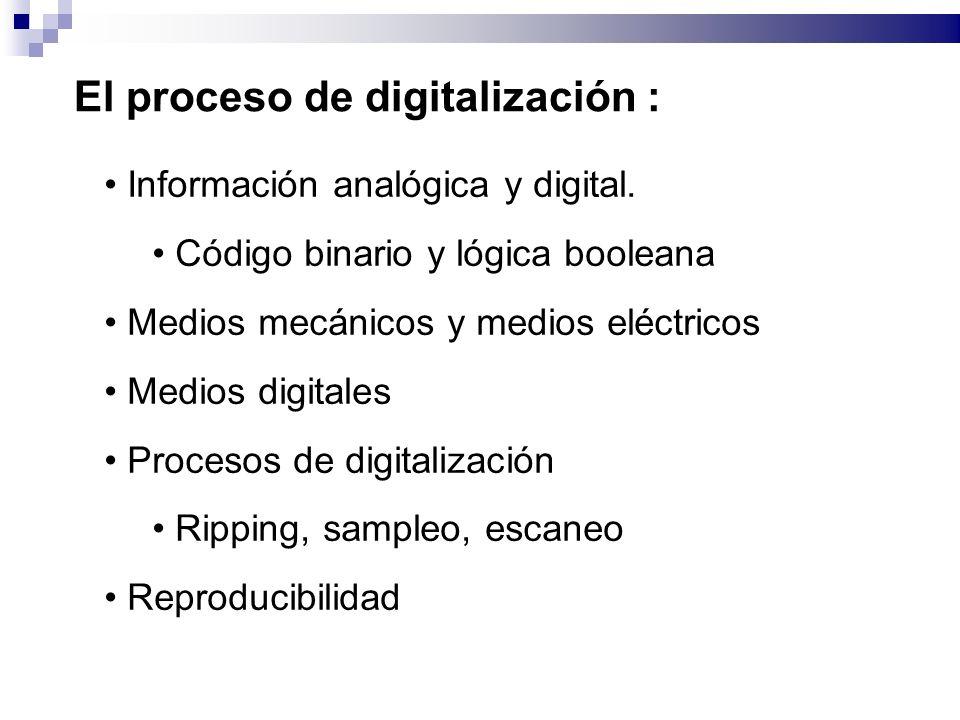 El proceso de digitalización : Información analógica y digital. Código binario y lógica booleana Medios mecánicos y medios eléctricos Medios digitales