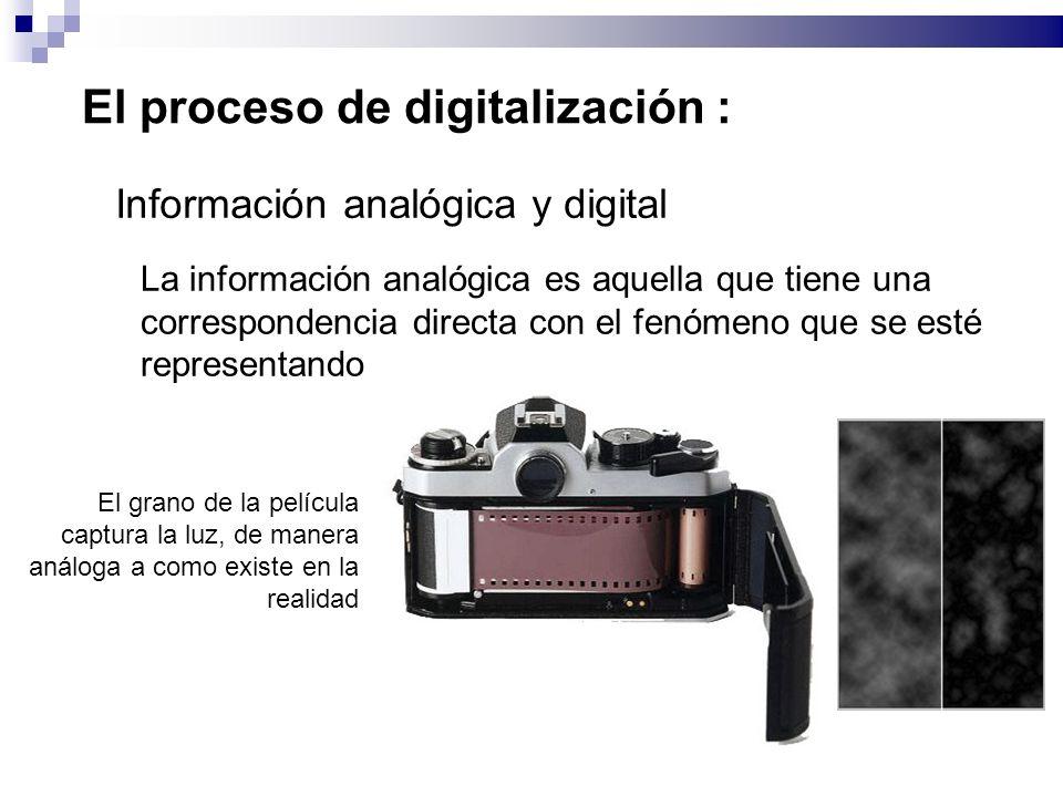 El proceso de digitalización : Información analógica y digital La información analógica es aquella que tiene una correspondencia directa con el fenómeno que se esté representando El grano de la película captura la luz, de manera análoga a como existe en la realidad