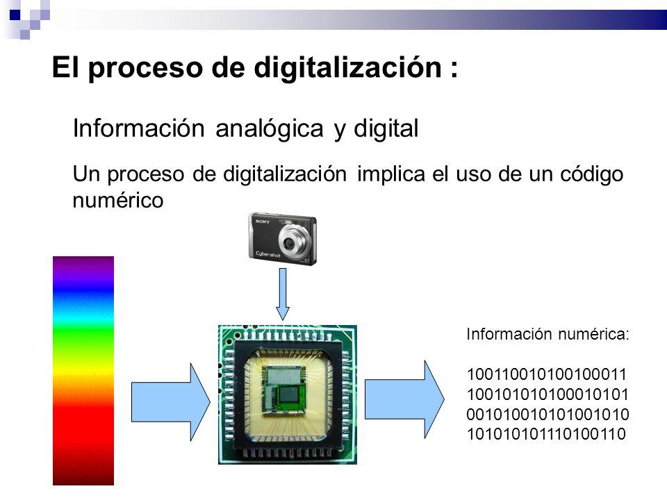 El proceso de digitalización : Información analógica y digital Un proceso de digitalización implica el uso de un código numérico Información numérica: 100110010100100011 100101010100010101 001010010101001010 101010101110100110