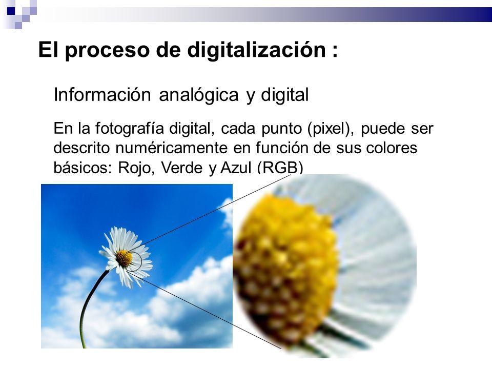 El proceso de digitalización : Información analógica y digital En la fotografía digital, cada punto (pixel), puede ser descrito numéricamente en función de sus colores básicos: Rojo, Verde y Azul (RGB)