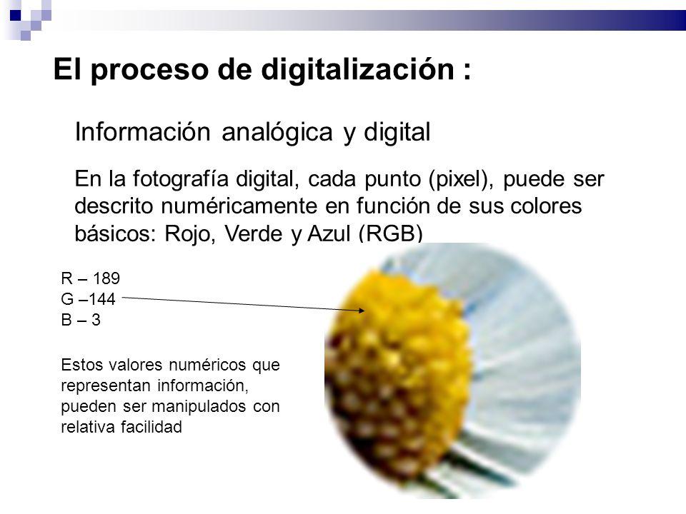 El proceso de digitalización : Información analógica y digital En la fotografía digital, cada punto (pixel), puede ser descrito numéricamente en función de sus colores básicos: Rojo, Verde y Azul (RGB) R – 189 G –144 B – 3 Estos valores numéricos que representan información, pueden ser manipulados con relativa facilidad