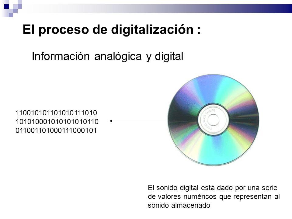 El proceso de digitalización : Información analógica y digital El sonido digital está dado por una serie de valores numéricos que representan al sonido almacenado 110010101101010111010 101010001010101010110 011001101000111000101