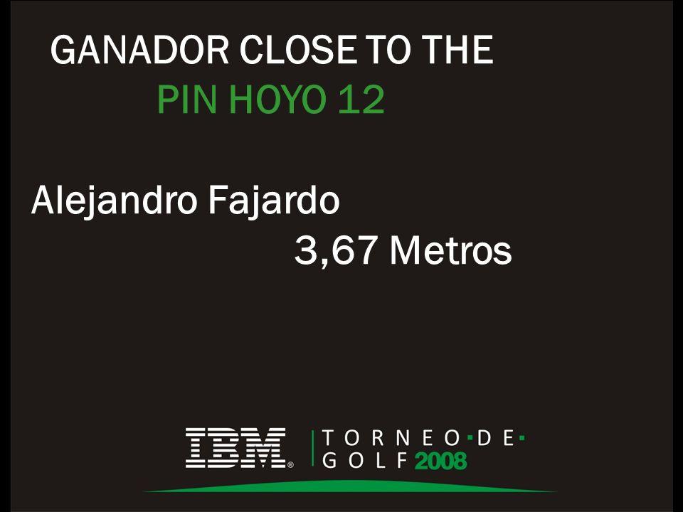 GANADOR CLOSE TO THE PIN HOYO 12 Alejandro Fajardo 3,67 Metros