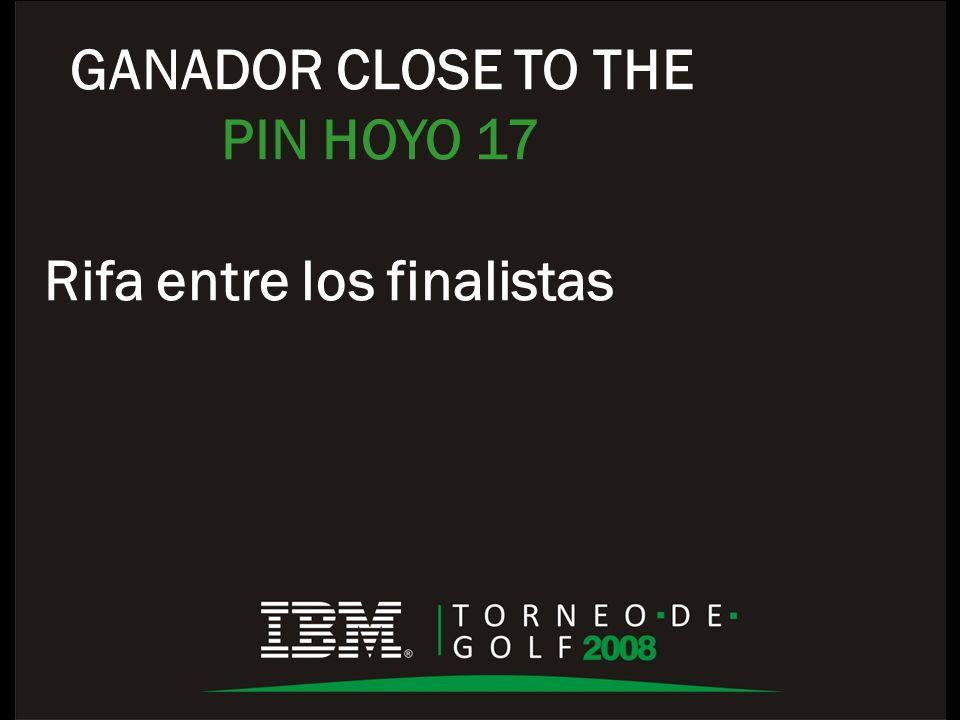 GANADOR CLOSE TO THE PIN HOYO 17 Rifa entre los finalistas