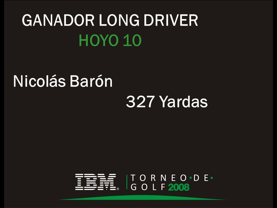 GANADOR LONG DRIVER HOYO 10 Nicolás Barón 327 Yardas