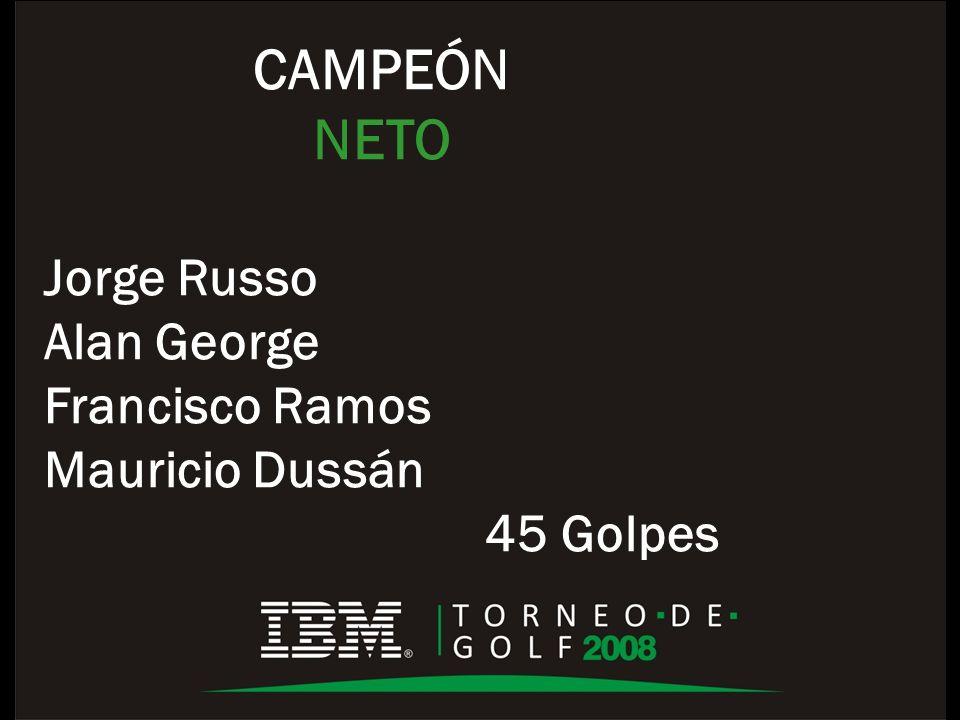 CAMPEÓN NETO Jorge Russo Alan George Francisco Ramos Mauricio Dussán 45 Golpes