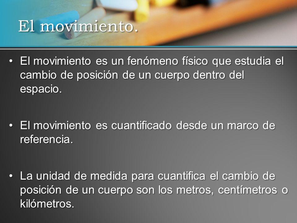 El movimiento es un fenómeno físico que estudia el cambio de posición de un cuerpo dentro del espacio.El movimiento es un fenómeno físico que estudia