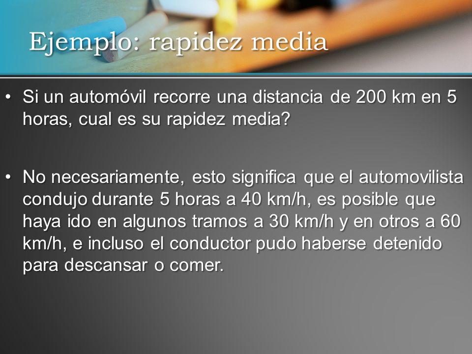 Si un automóvil recorre una distancia de 200 km en 5 horas, cual es su rapidez media?Si un automóvil recorre una distancia de 200 km en 5 horas, cual