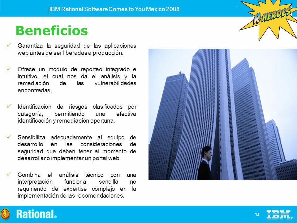 IBM Rational Software Comes to You Mexico 2008 13 Garantiza la seguridad de las aplicaciones web antes de ser liberadas a producción. Ofrece un modulo
