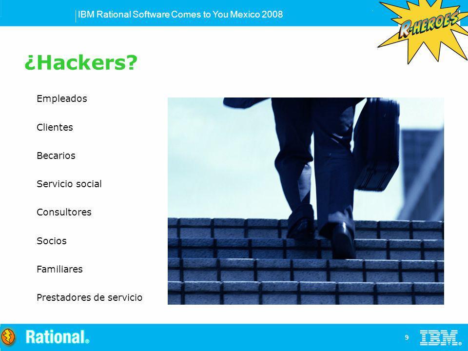 IBM Rational Software Comes to You Mexico 2008 9 Empleados Clientes Becarios Servicio social Consultores Socios Familiares Prestadores de servicio ¿Ha