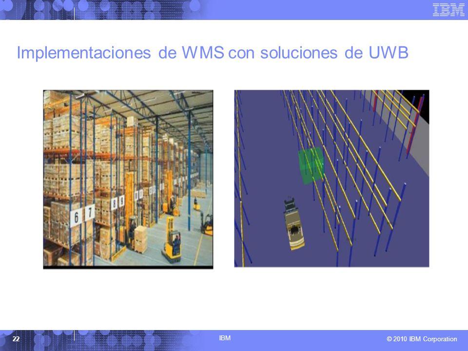 IBM © 2010 IBM Corporation22 Implementaciones de WMS con soluciones de UWB