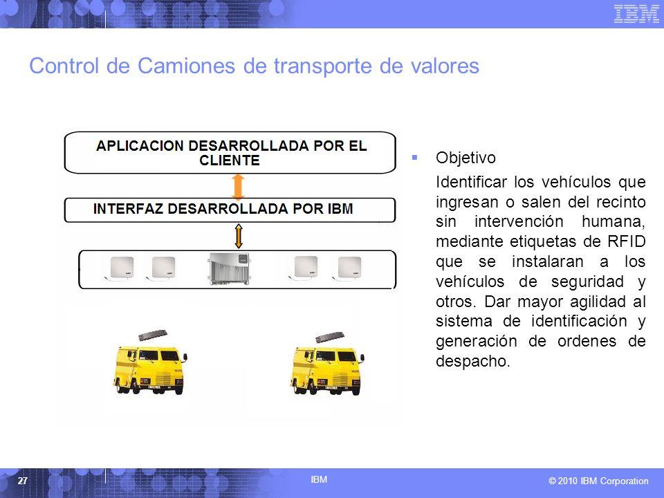 IBM © 2010 IBM Corporation27 Control de Camiones de transporte de valores Objetivo Identificar los vehículos que ingresan o salen del recinto sin inte