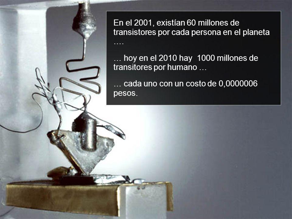 En el 2001, existían 60 millones de transistores por cada persona en el planeta …. … hoy en el 2010 hay 1000 millones de transitores por humano … … ca