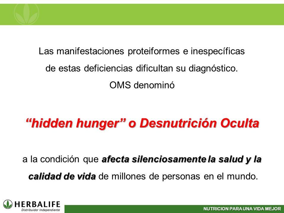 NUTRICION PARA UNA VIDA MEJOR Las manifestaciones proteiformes e inespecíficas de estas deficiencias dificultan su diagnóstico. OMS denominó hidden hu