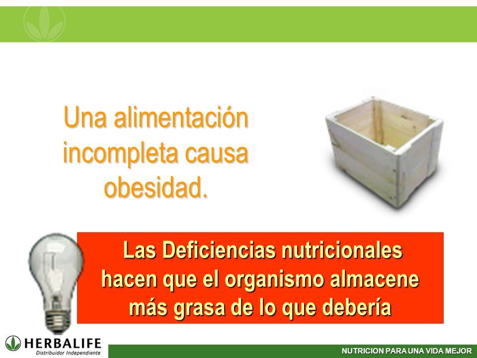 NUTRICION PARA UNA VIDA MEJOR Una alimentación incompleta causa obesidad. Las Deficiencias nutricionales Las Deficiencias nutricionales hacen que el o